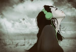 music, headphones, beach, girl, wind,